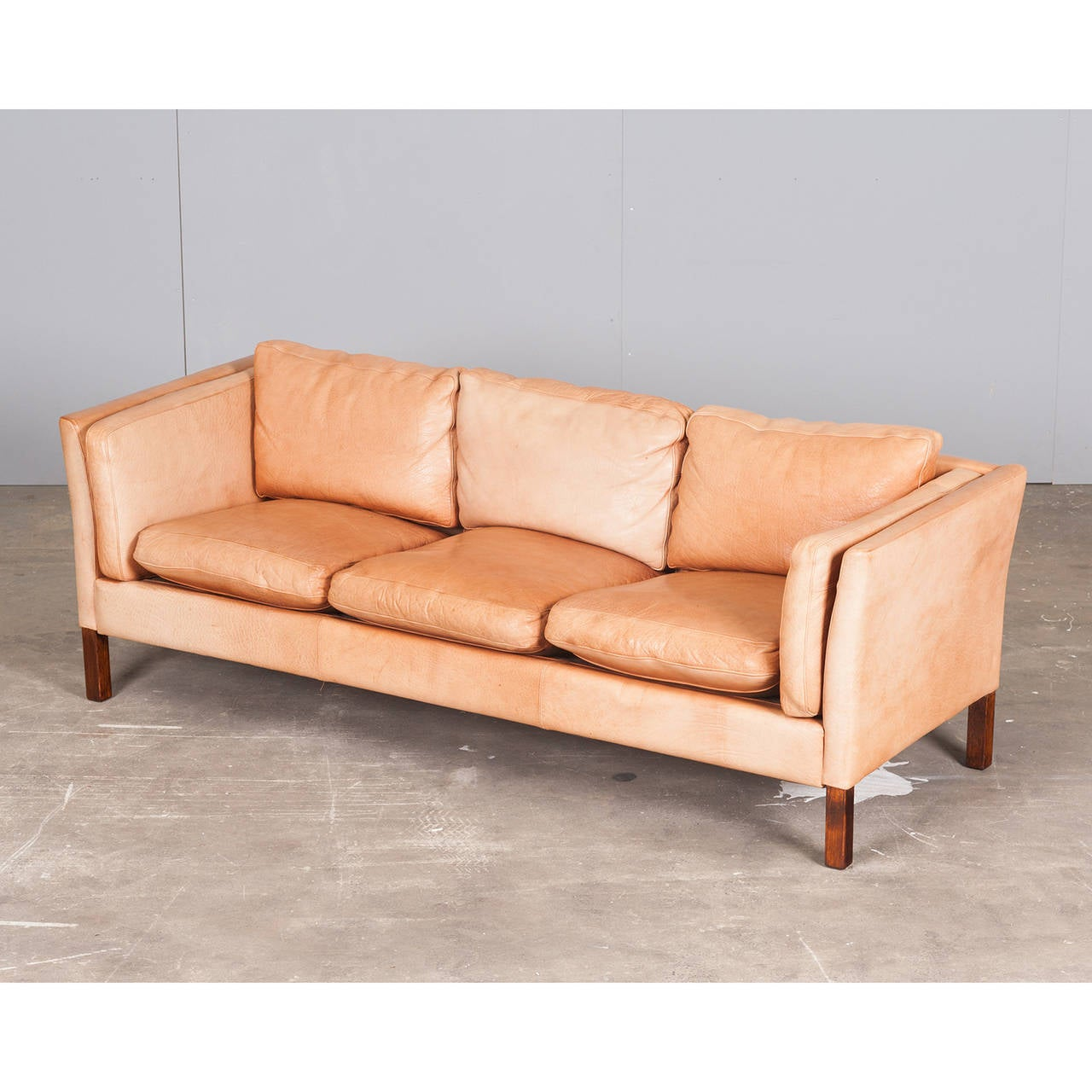 Danish Three-Seater Sofa in Light Tan Leather, 1960s For Sale at 1stdibs