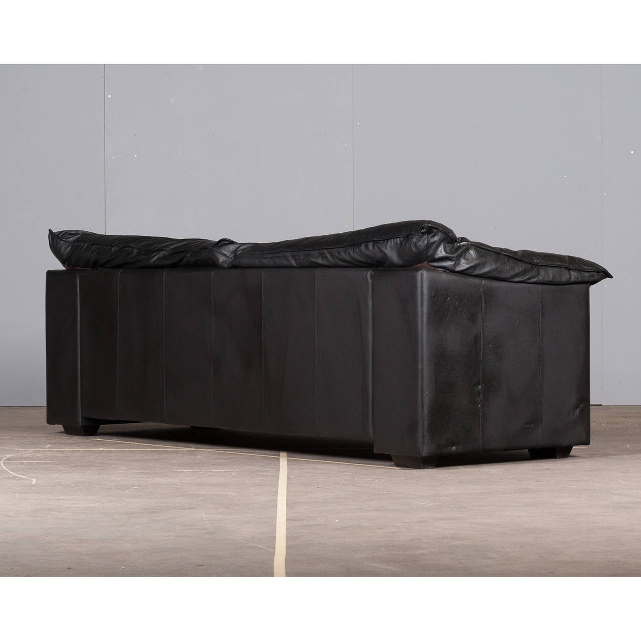 Italian ThreeSeater Sofa in Black Leather by Skalma, 1980s at 1stdibs
