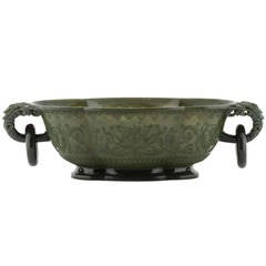 Chinese Spinach Jade Bowl, 19th Century