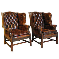 Pair of English Wingback Leather Chairs