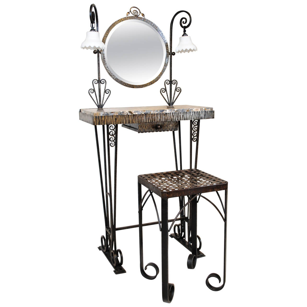 French Art Deco Wrought Iron And Marble Dressing Table And