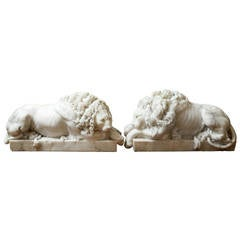 19th Century Pair of Hand Carved Carrara Marble Lions