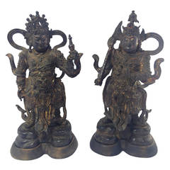 Ming Dynasty Chinese Gilt Bronze Guardian Figures