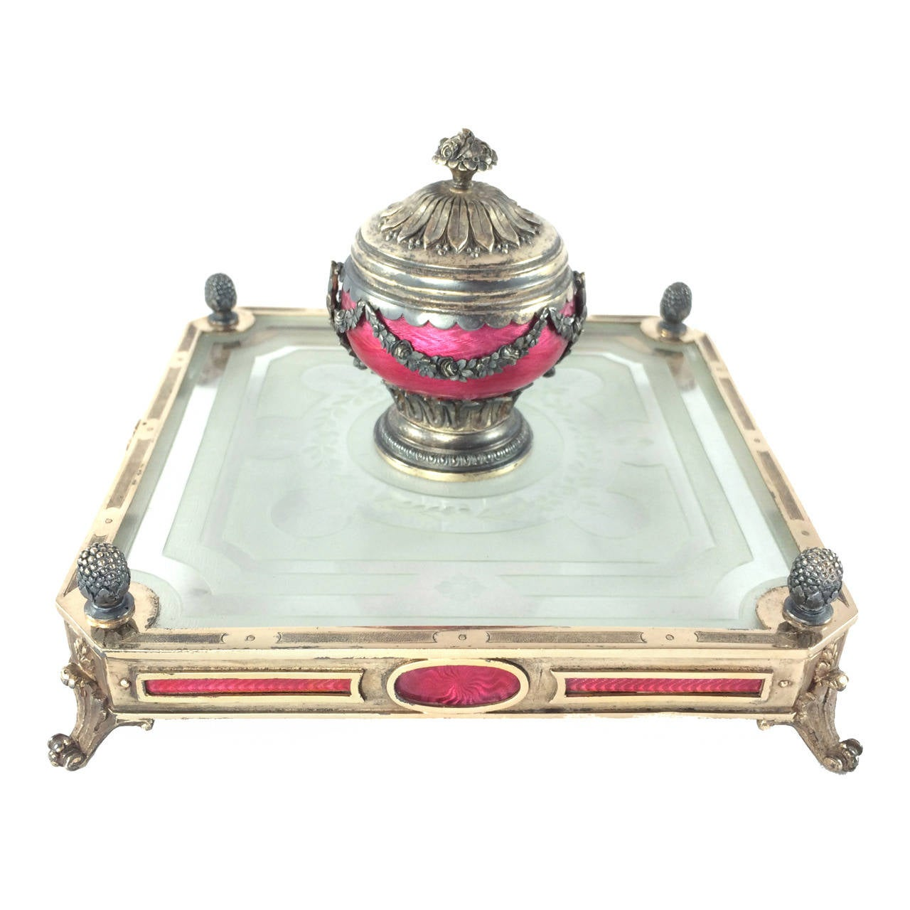 Early 20th Century French Guilloché Enamel and Gilt Silver Inkwell