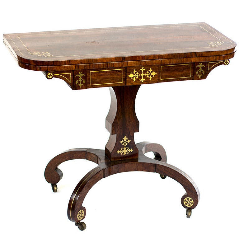 19th Century Regency Brass Inlay Rosewood Card Table