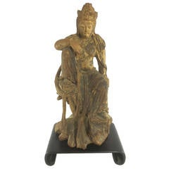 Early Ming Dynasty Chinese Carved Timber Statue of Guanyin in Royal Repose
