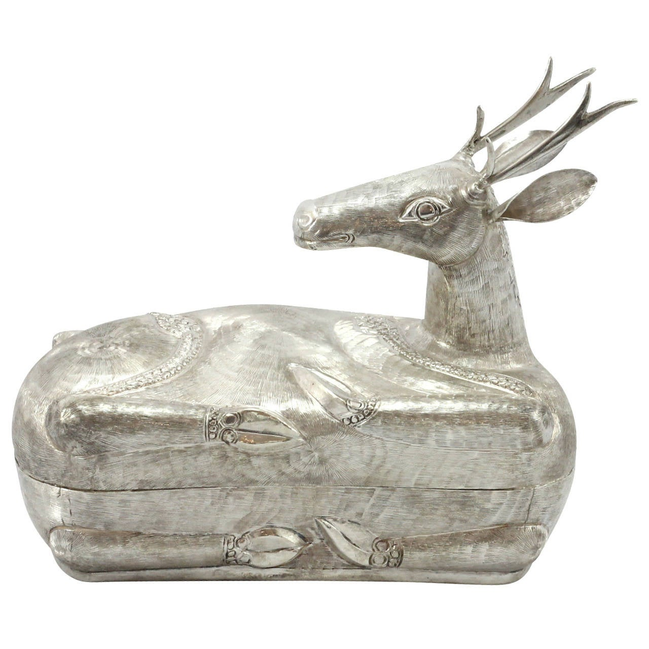 Cambodian Silver Deer Shaped Betel Nut Container