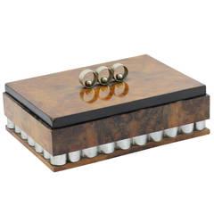 Italian Art Deco Walnut Jewelry Box