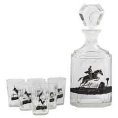 20th Century Art Deco Fox Hunt Decanter Set