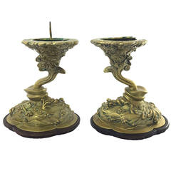 Pair of 18th Century Chinese Brass Alter Candlesticks on Timber Bases