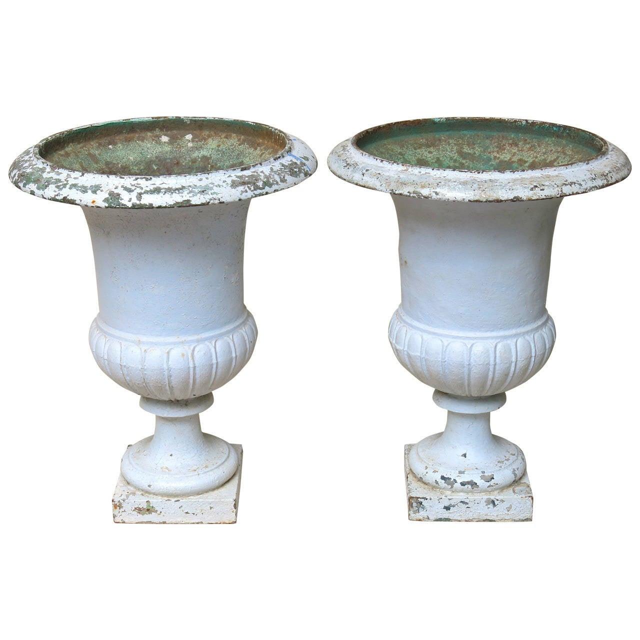 Pair of 18th Century Cast Iron Medici Urns