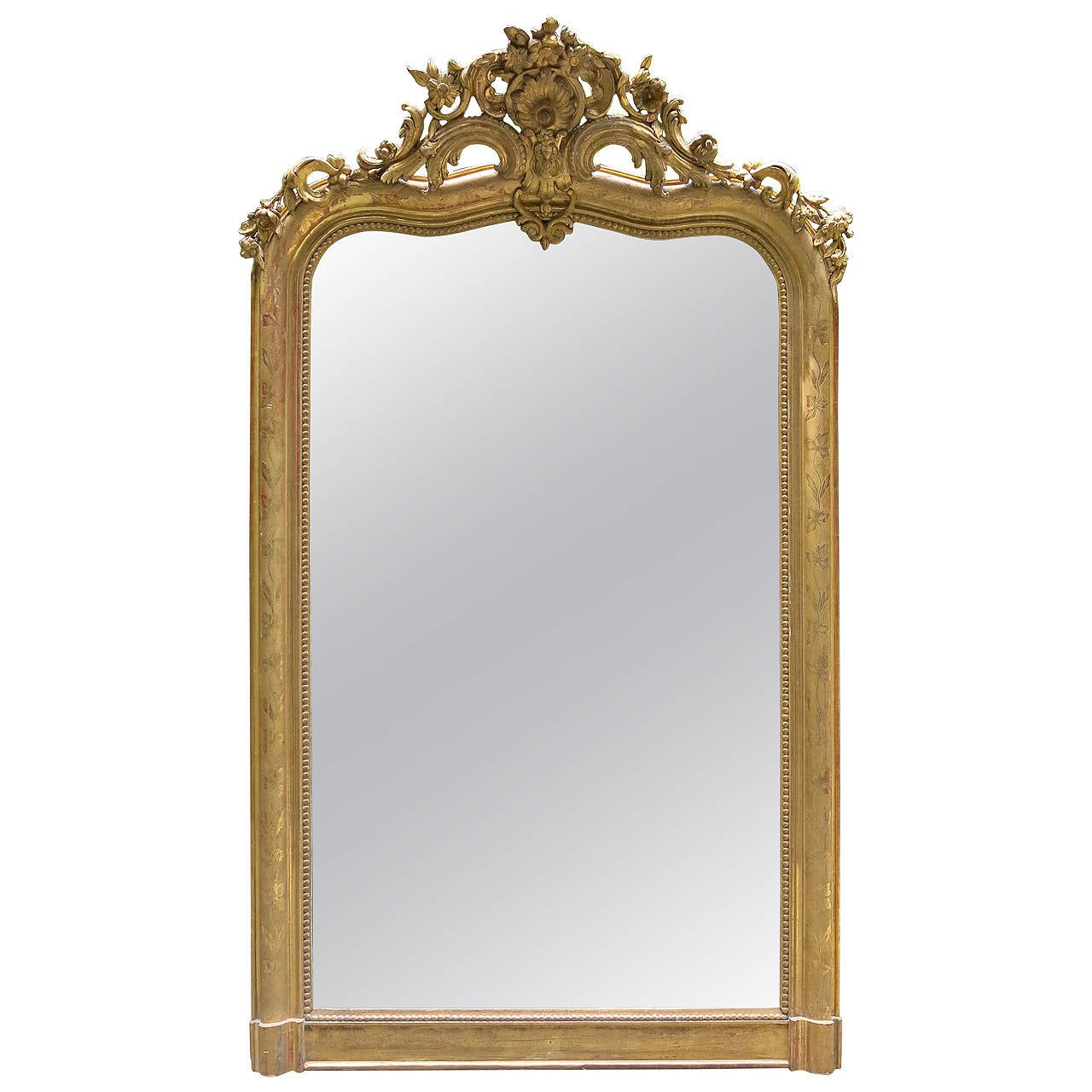 Arched gilt mirror at 1stdibs - 18th Century Louis Xv Gilded Mirror With Cartouche 1