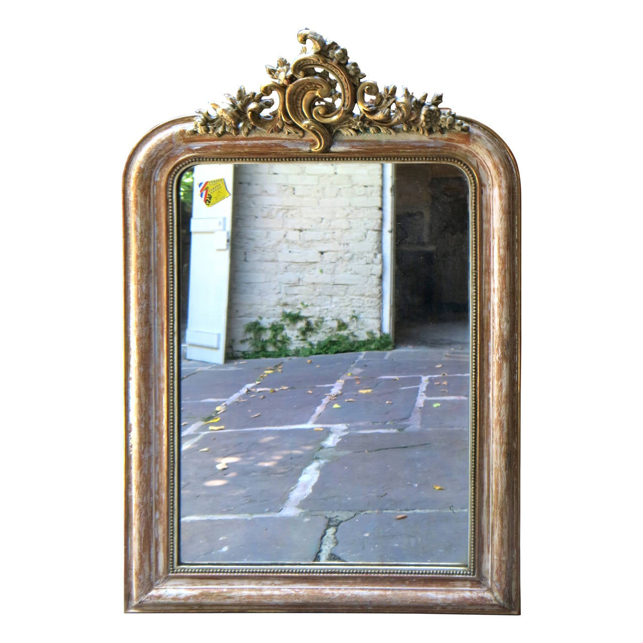 Arched gilt mirror at 1stdibs - 18th Century Louis Xv Silver Leaf And Gilt Mirror With Cartouche 1