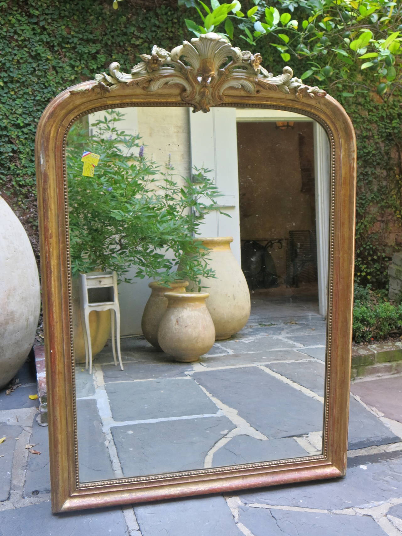 Arched gilt mirror at 1stdibs - 18th Century Louis Xv Gilded Mirror With Cartouche 2