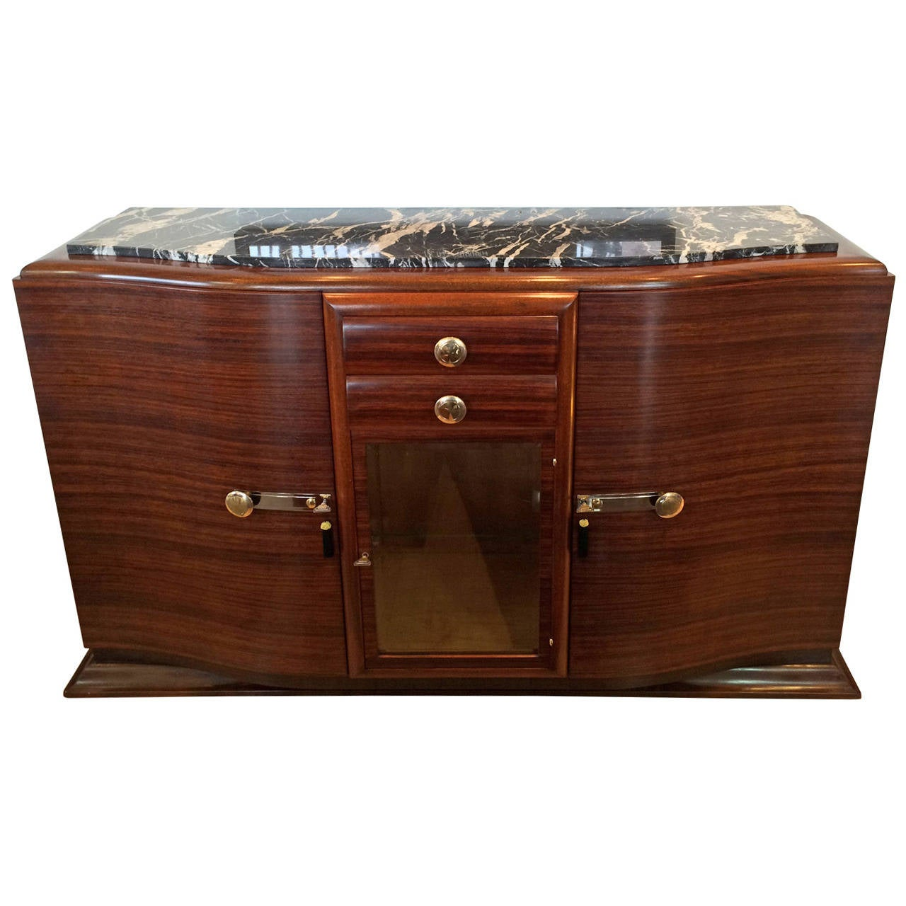 Art Deco French Rosewood And Marble Sideboard Or Buffet At