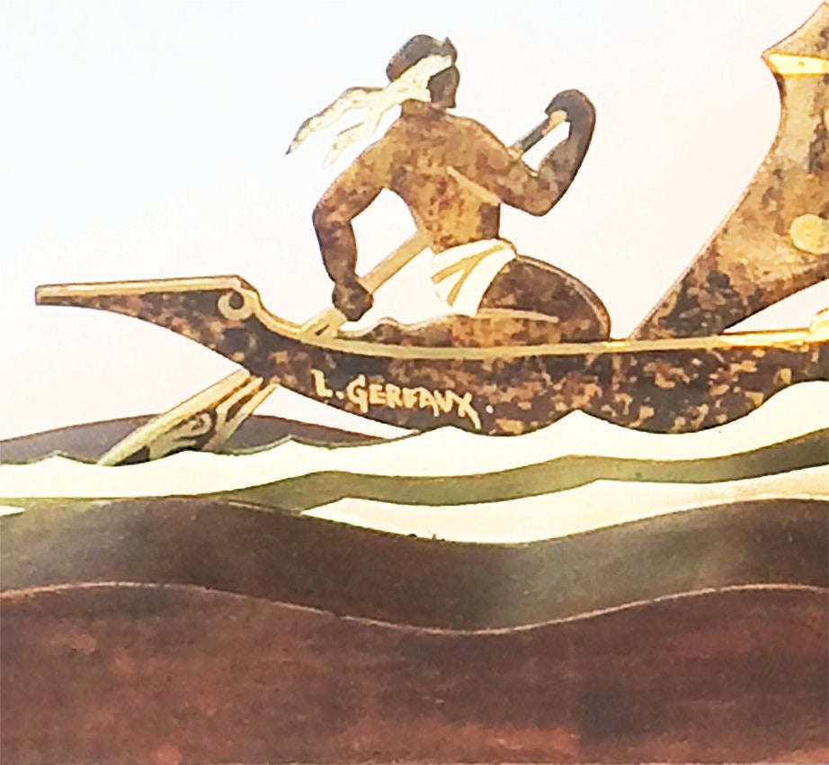 Art Deco Ship: Art Deco Dinanderie Viking Ship By Lucien Gerfaux At 1stdibs