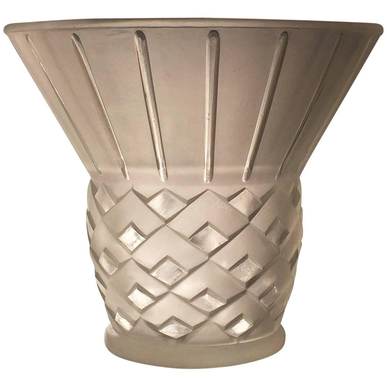 art deco french pillow vase by etling for sale at 1stdibs. Black Bedroom Furniture Sets. Home Design Ideas