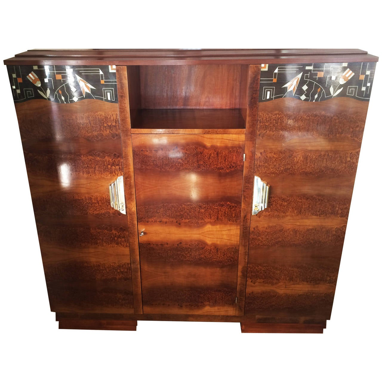 Art deco bibliotheque or bookcase inlaid in egyptian for Bibliotheque deco