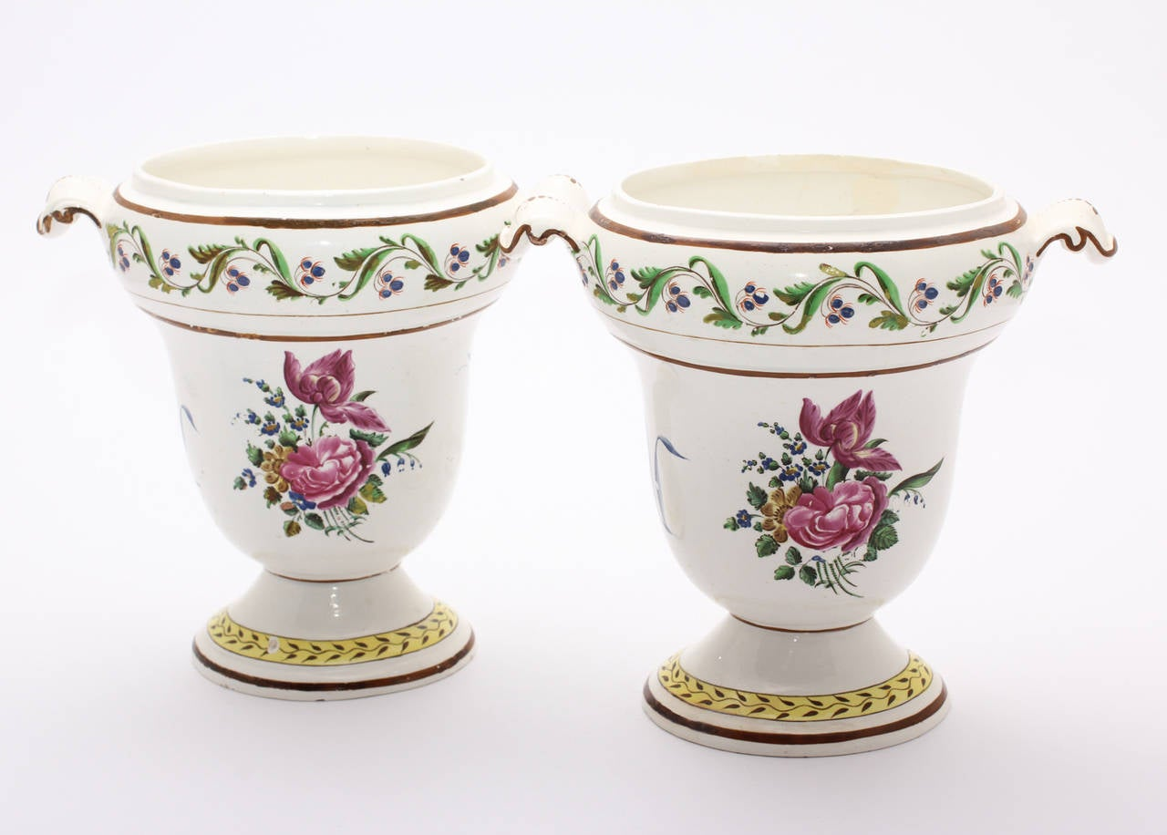 Pair of French Creamware Vases, Flower Decoration, circa 1800 For Sale 3