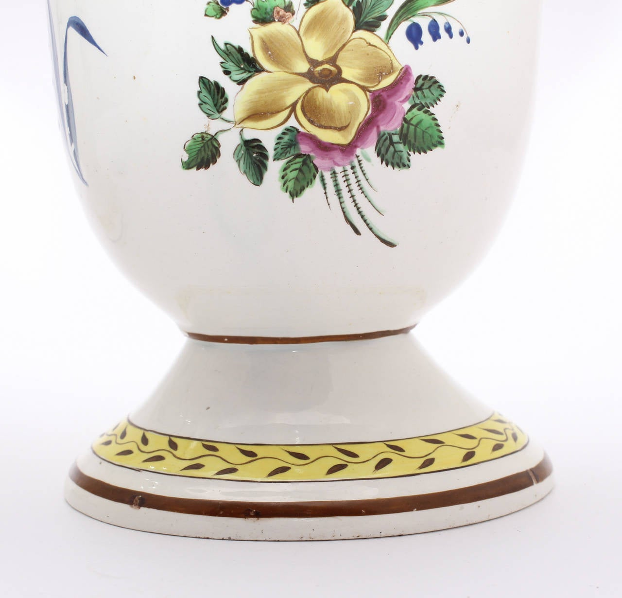 19th Century Pair of French Creamware Vases, Flower Decoration, circa 1800 For Sale