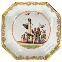Meissen Octagonal Dish, Chinoiserie in the Manner of J.G.Höroldt, circa 1735