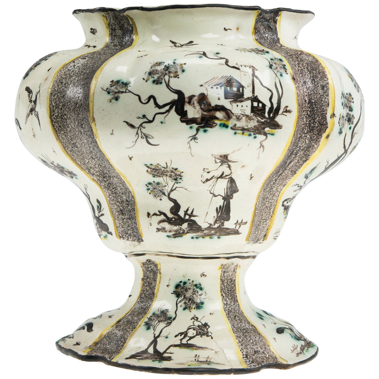 Italian maiolica vase chinoiseries and italianate for Decoration faience