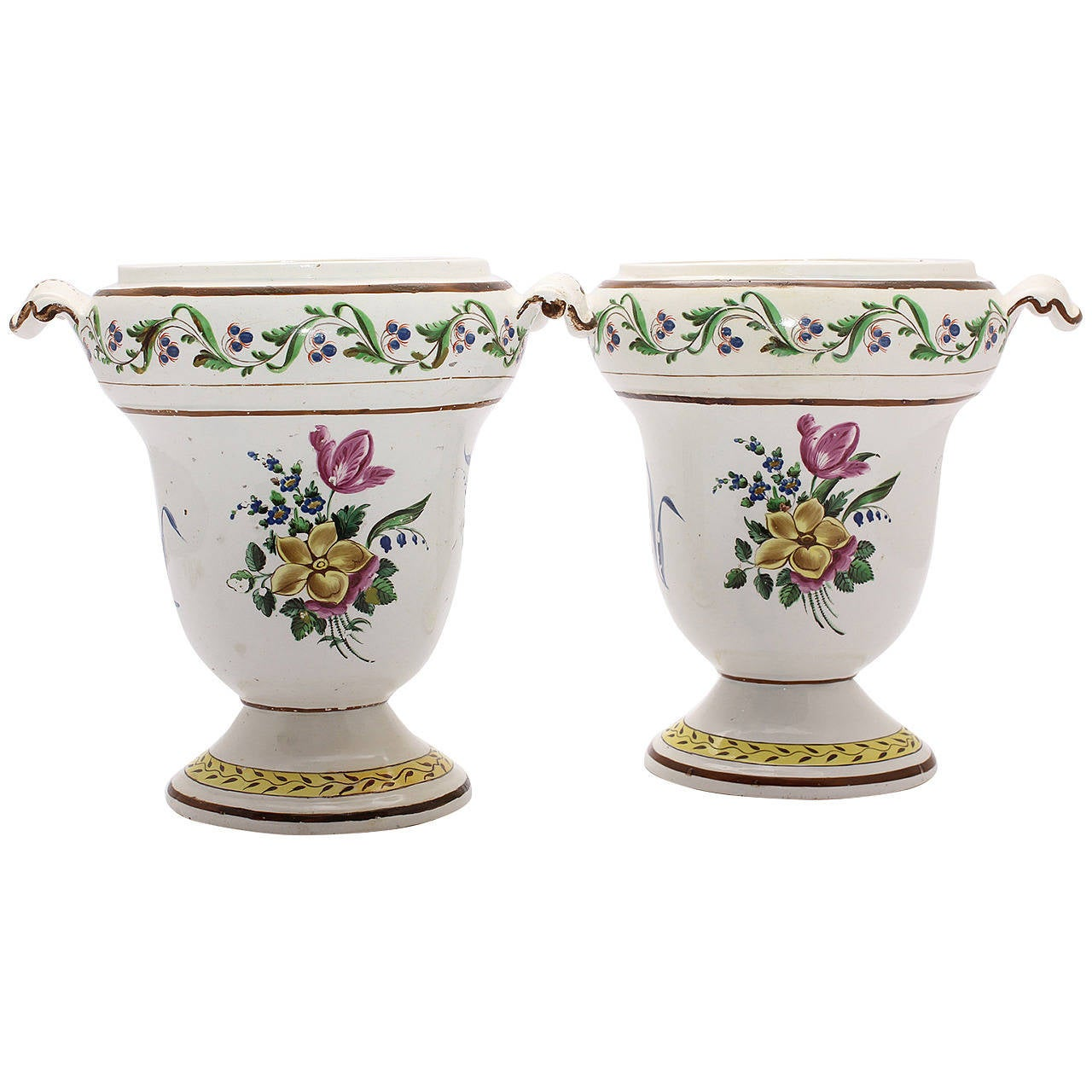 Pair of French Creamware Vases, Flower Decoration, circa 1800 For Sale