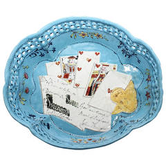 English Enamel Card Tray, Trompe L'oeil Cards Guineas and £100 Bank Note