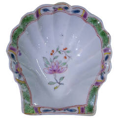 Worcester Polychrome Pickle Shell, Ex Zorensky Collection, circa 1754