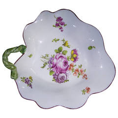 Longton Hall Leaf Dish, 'Trembly Rose' Style Flowers, circa 1760