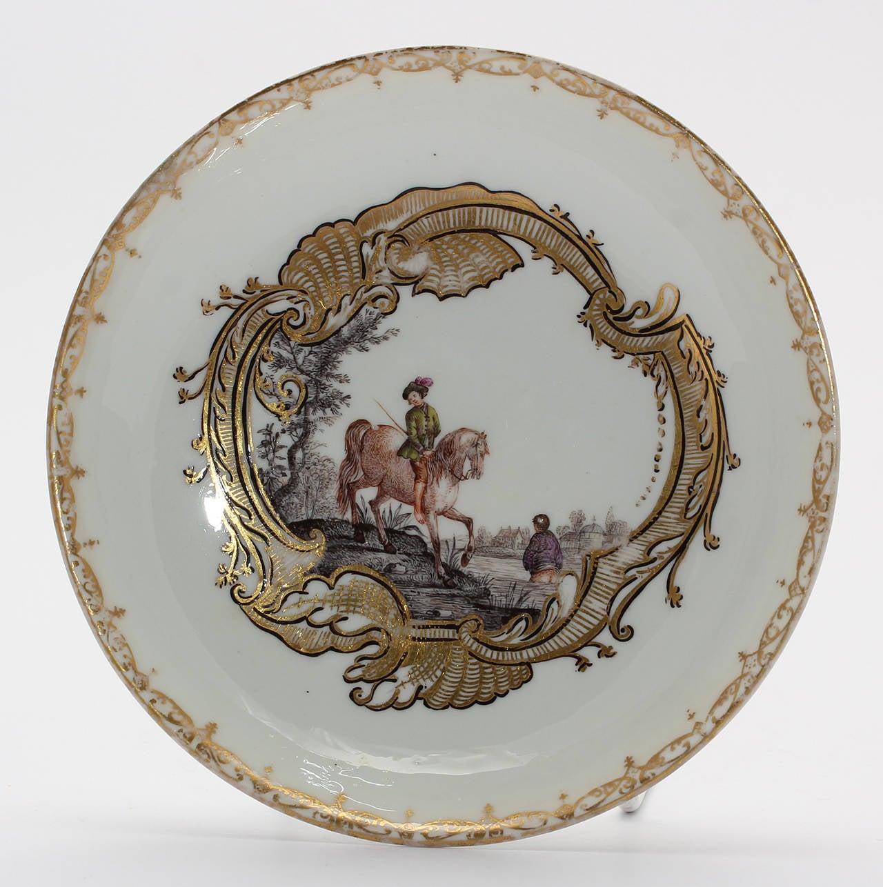 Rococo Meissen Tea Bowl and Saucer, Equestrian Scene, circa 1745 For Sale