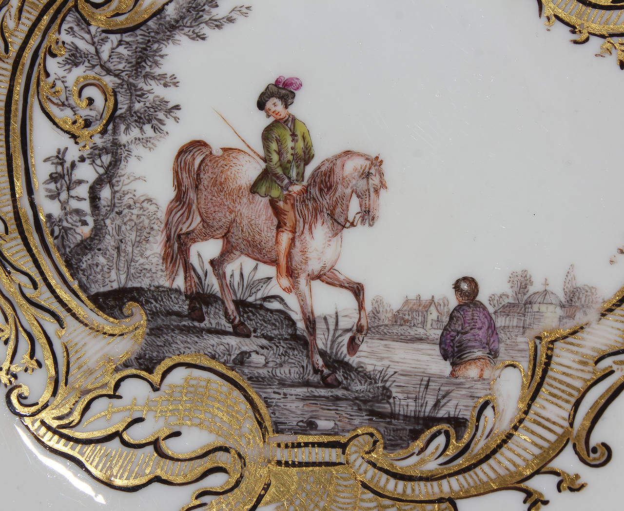 German Meissen Tea Bowl and Saucer, Equestrian Scene, circa 1745 For Sale