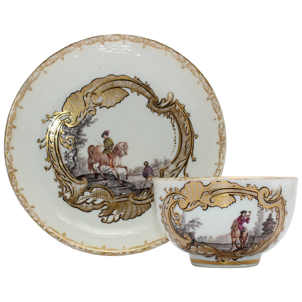 Meissen Tea Bowl and Saucer, Equestrian Scene, circa 1745 For Sale