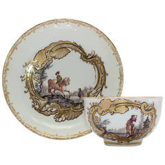 Meissen Tea Bowl and Saucer, Equestrian Scene, circa 1745