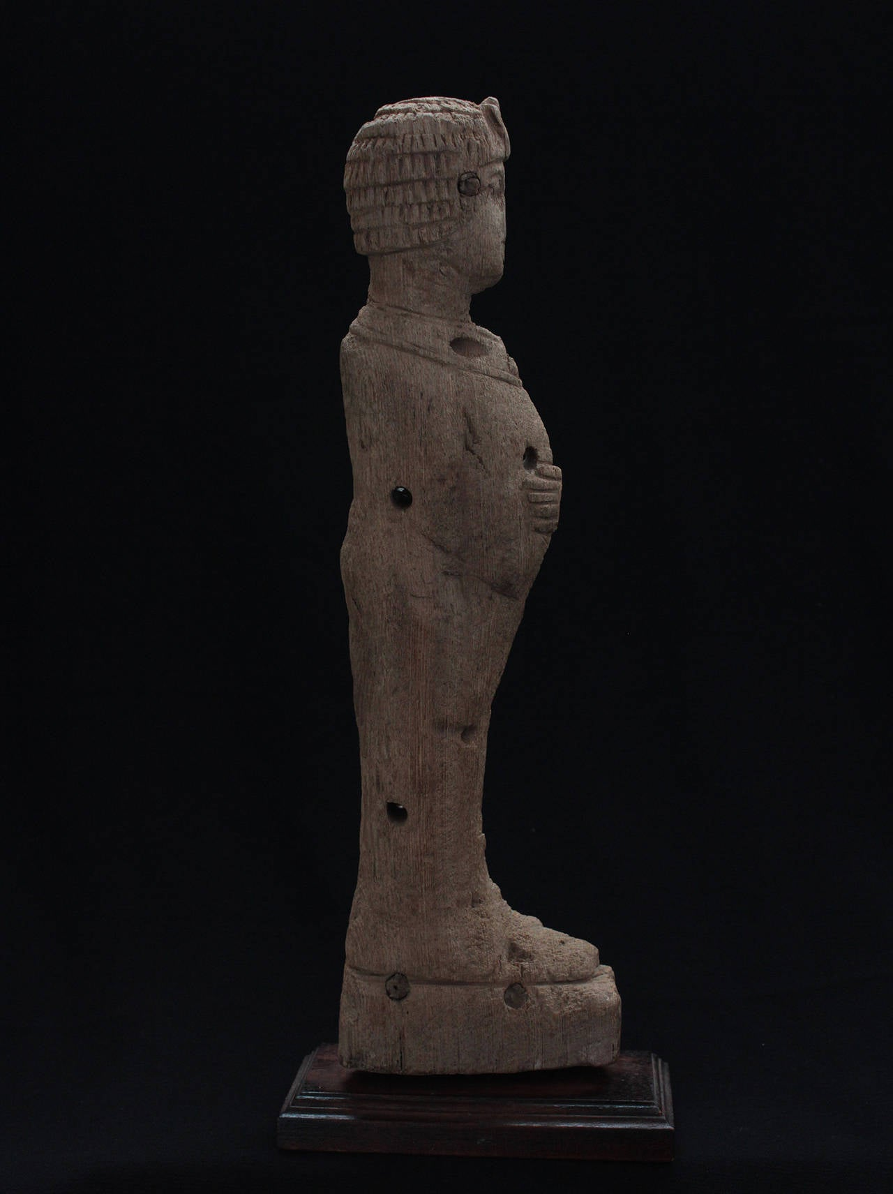 Egyptian Wood Fragment, Standing Pharaoh, Possibly a Chair Fitting, Late Period For Sale 1