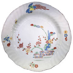 Chantilly Kakiemon Plate with Banded Hedge and Phoenix, circa 1745