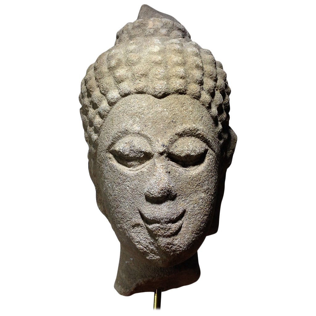Thai carved stone head from the ayutthaya period th