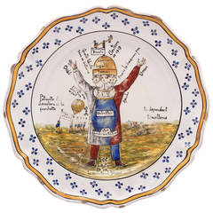 French Faience Political Charger Lampooning the 1819 Elections