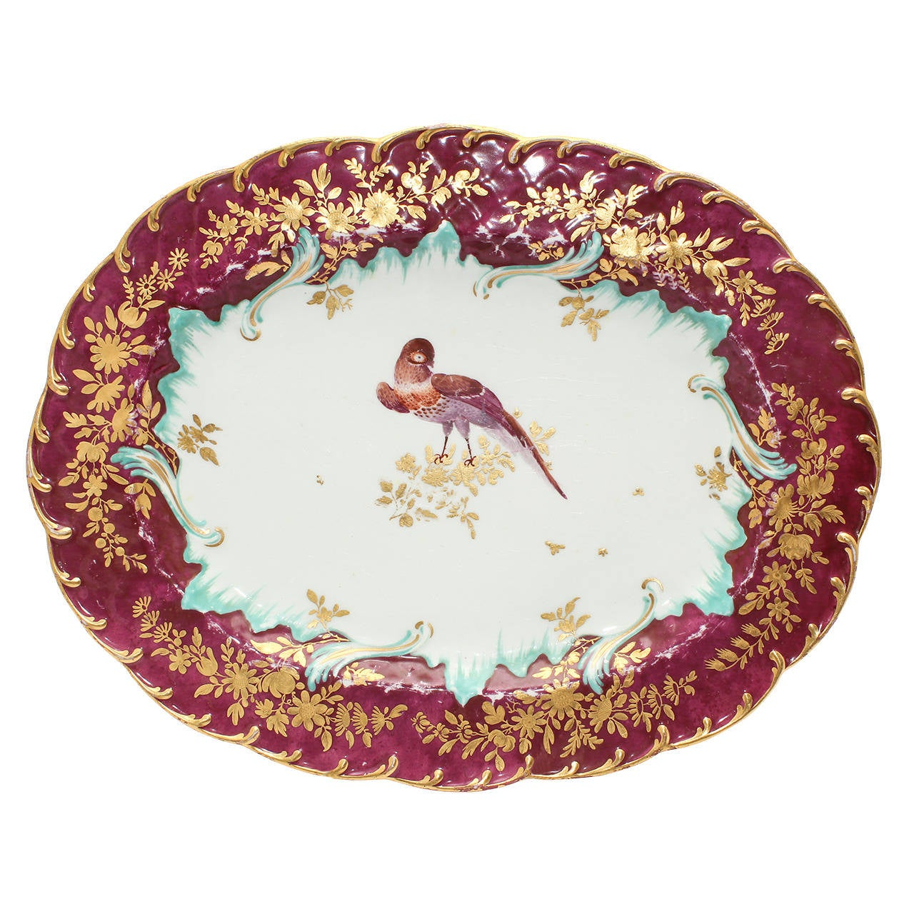 Gold Anchor Chelsea Serving Dish, Bird in Claret Ground, circa 1765 For Sale