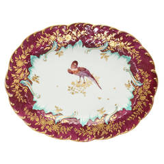 Gold Anchor Chelsea Serving Dish, Bird in Claret Ground, circa 1765