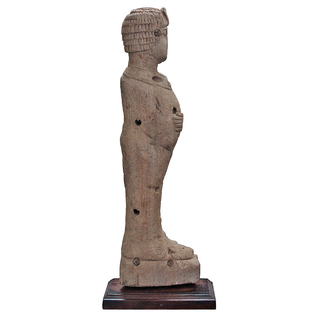 Egyptian Wood Fragment, Standing Pharaoh, Possibly a Chair Fitting, Late Period For Sale