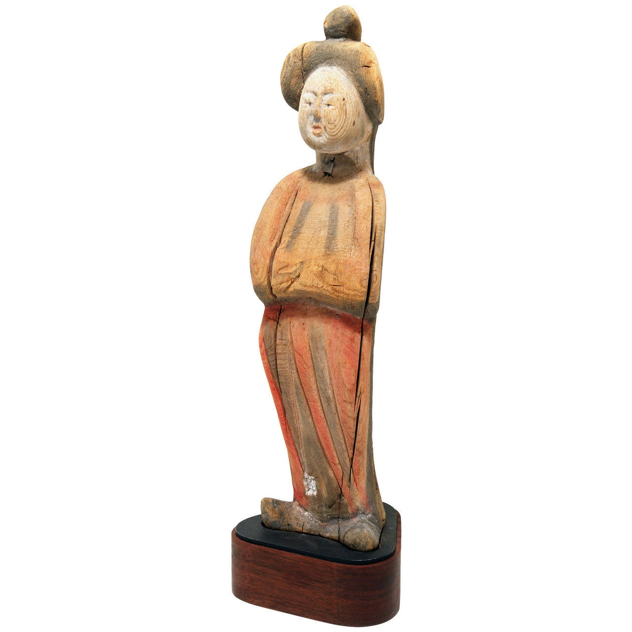 Tang Dynasty Figure of a Lady, Wood with Pigments, 8th Century AD