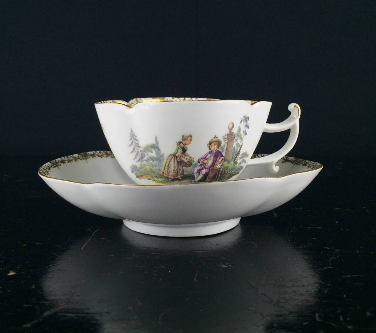 Rococo Meissen Quatrefoil Shape Cup and Saucer with Children, circa 1745 For Sale