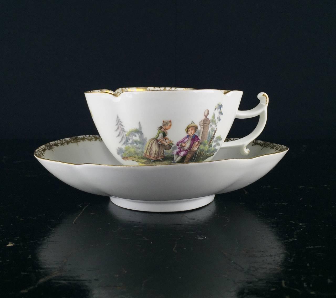 Meissen Quatrefoil Shape Cup and Saucer with Children, circa 1745 3