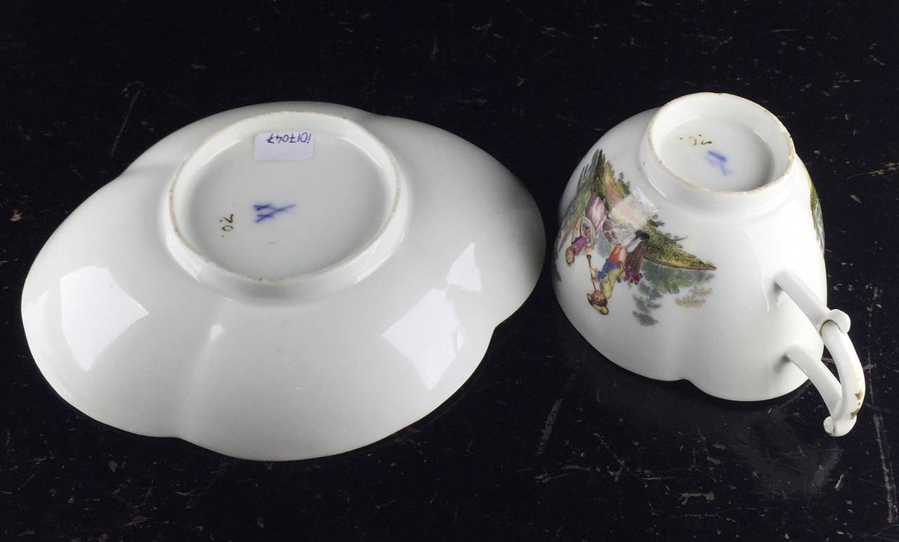 German Meissen Quatrefoil Shape Cup and Saucer with Children, circa 1745 For Sale