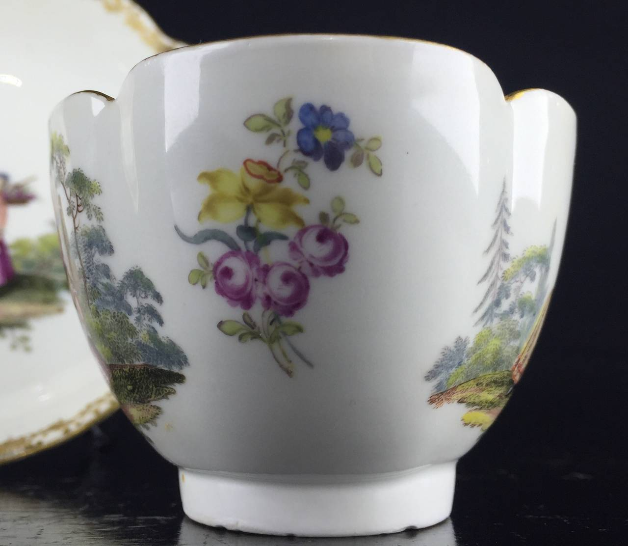 Porcelain Meissen Quatrefoil Shape Cup and Saucer with Children, circa 1745 For Sale