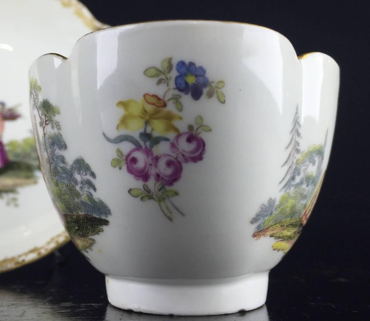 Meissen Quatrefoil Shape Cup and Saucer with Children, circa 1745 7