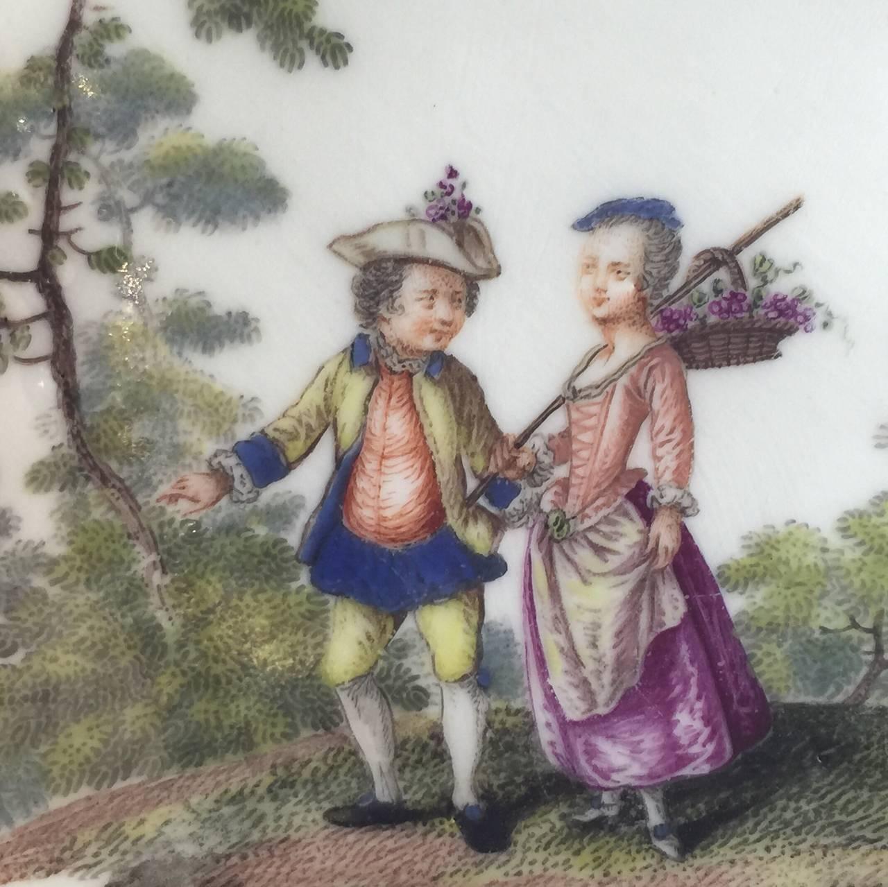 Meissen Quatrefoil Shape Cup and Saucer with Children, circa 1745 9