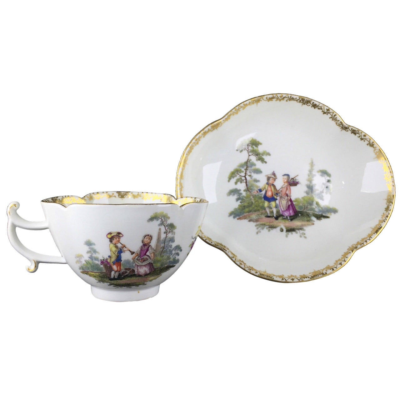 Meissen Quatrefoil Shape Cup and Saucer with Children, circa 1745 For Sale