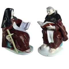Derby Nun and Friar Reading Large Books, circa 1760